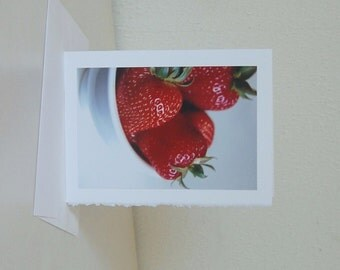 Strawberry Note Card, Blank Note Card, Strawberries Card, Greeting Card, All Occasion Card, Photo Card,  Frameable Card, Note Card