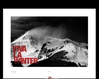 Viva La Winter, Big Sky Ski Resort Montana, Art Print, Screenprint, Print, Poster, Office Art, Snowboarding, Skiing Mountain