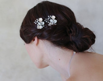 bridal floral hair pins - Petite floral and crystal hair pin pair - Style 567 - Ready to Ship