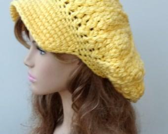Newsboy cap, Light lemon yellow Cap Visor Tam Hat Hippie Slouchy Newsboy Beanie Billed, slouchy hat