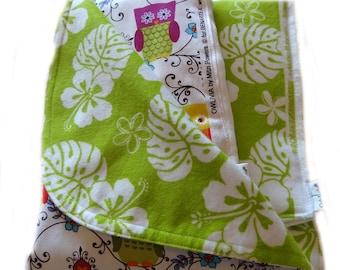 Newborn Gift Set - Owlivia Aloha Receiving Blanket/Burp Cloths