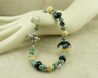 Yin Yang Lampwork Bead and Turquoise Magnesite Bracelet > Ebony Ivory Black Silver Zen Inspiration Artisan - I ship Internationally