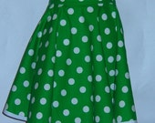Half Apron Made From Dotty Green and White Fabric
