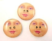 "3 Woman in Moon Wooden Novelty Buttons.  1"" or 25 mm.  Decorative Craft  Buttons."