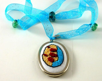 Pendant Hand Embroidered Abstract Scribble with Adjustable Ribbon Art Lovers Gift