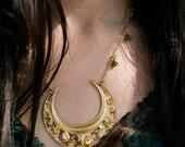 LAST ONE Ophelia Lunar Halo Rose Short Necklace / Crescent Moon Occult Necklace / Art Nouveau / Floral Design