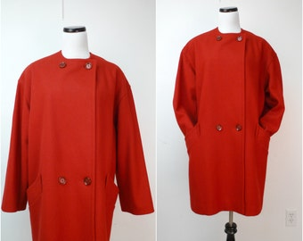 RED WINE . vintage button up . overlap wool coat . size 8 . made in USA