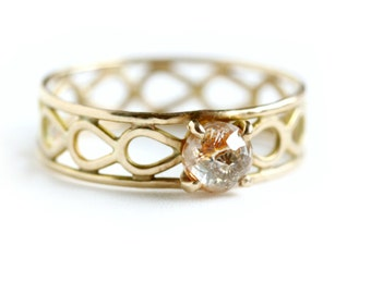 Rose Cut Diamond Engagement Ring - Solid 14k Gold and Diamond Ring