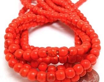70 Orange Howlite Beads 6MM round (H7015)