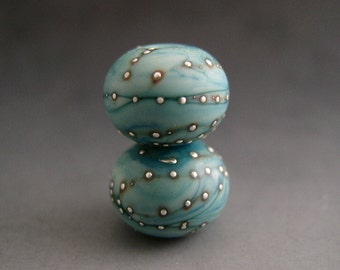 Naos Glass Laguna Pair Made To Order Artisan Glass Beads Mint Blue Turquoise Fine Silver Handmade Lampwork Beads SRA
