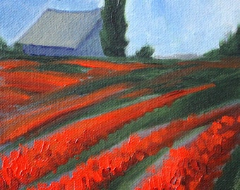 Landscape Oil Painting, Red Tulip Field, Rural Farm Scene, Small 6x6 Canvas, Country Barn, Trees, Square Format Original, Texture, Blue Sky