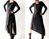 Womens dress, Black dress, Long dress, Tunic, Maxi dress, Boho dress, Day dress, Long sleeve dress, Hippe dress, Womens clothing, Asymmetric