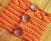The Triple Button Scarf {Hood/Snood} in Pumpkin - Most Popular and Versatile Style