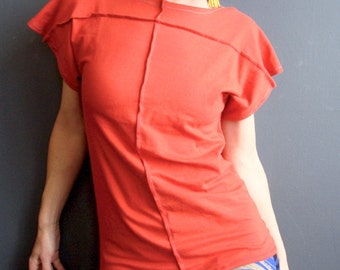 Easy Going  - iheartfink Handmade Womens Unique Solid Color Rust Orange Short Sleeve Jersey Top