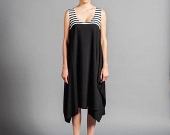 Black White Stripes Side Tail Oversized handkerchief Hem Dress