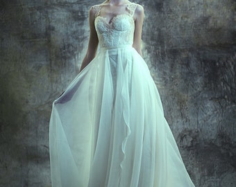 Ethereal lace sweetheart and silk organza gown - Eveline