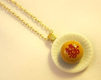 Single Brown Double Happiness Cookie On A Round Plate Necklace III Miniature Food Chinese Traditional Dollhouse Scale Pastry Asian