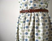 RESERVED FOR MICHELA - Vintage 50's-60's Cotton Dress - White with Green and Blue Hexagons