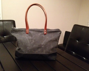 LARGE Grey and Black Waxed Canvas Zippered Tote Bag Purse with Chestnut Brown Leather Handles
