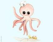 Ocean themed nursery, Octopus print, Octopus painting, Octopus illustration, ocean nursery, Nursery wall art, O is for Octopus, Sea animal