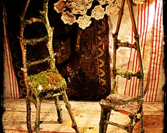 twig chair larger size for Blythe dolls, rustic decor, jewelry display. Blythe doll, doll chair