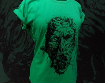 Womens kelly green fitted ZOMBIE t shirt scoop neck cotton short sleeve new fitting details included Sizes M L XL XXL