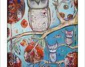 Owl Family- Mixed Media Art Print