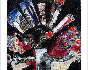 "Print- ""Ruin as a Blessing"" -Releasing with Grace- Mixed Media Art, Visionary Art, Shamanic Art, Intuitive Art, Meditative Art, Dark Art"