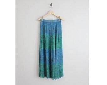 floral silk skirt / water lilies skirt / pleated silk skirt