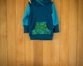 Merino hoodie - Sea garden - in sizes 3mth - 2yrs