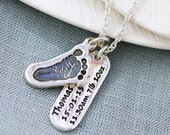 Footprint Charm and Birth Celebration Tag Necklace - Mother's day gift, New baby, keepsake, personalized jewellery, baby Memorial