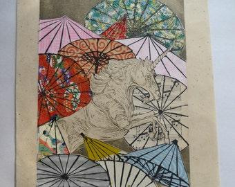 Unicorn Amongst Umbrellas XXXI- Multimedia - Lino Block Print Unicorn with Collaged Japanese Papers & Ephemera Parasols