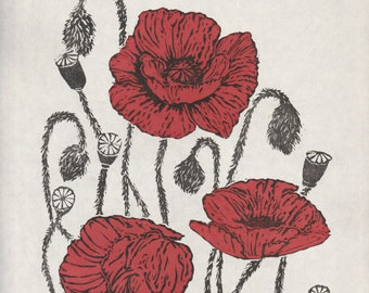 Poppies Linocut, 2nd edition Lino Block Print, White, Black, Red, Floral, Poppies for Remembrance