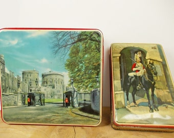 British Biscuit Tins, Vintage Cookie Tins, Lithograph Printed Biscuit Tins, Anglophilia, Queen's Royal Guards, Black Horses, Castle.