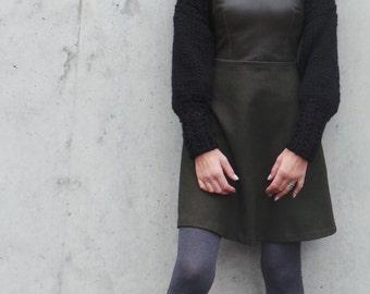 Women's Black shrug / long sleeved black alpaca mix shrug /