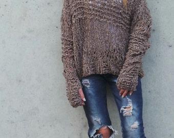 Brown sweater, loose knit,  Grunge oversized thumb hole sweater, off the shoulder sweater
