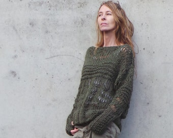 Green sweater /  Chunky oversized grunge sweater