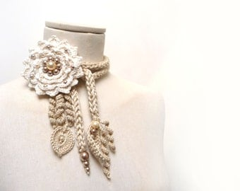Crochet Cotton Lariat Necklace - Light Beige / Sand Leaves and Cream White Flower with Glass Pearls - LITTLE PEONY - Custom Color