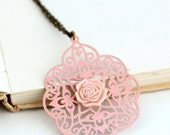 Soft Pink Filigree Necklace, Metal Necklace, Bohemian Necklace, moroccan, Shabby Chic, Pale Pink Metal Lacy Necklace, Girlfriend Gift