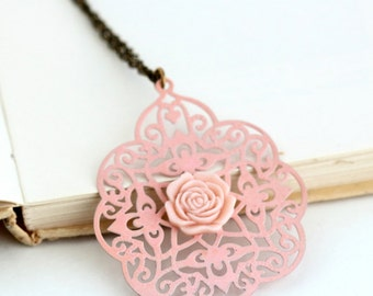 Soft Pink Filigree Necklace - Metal Necklace - Bohemian Necklace - moroccan - Shabby Chic - Pale Pink Metal Lacy Necklace - Girlfriend Gift