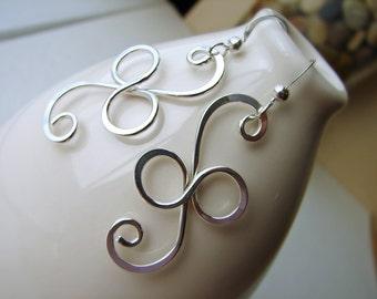 Sterling Silver Infinity Earrings Long Silver Wire Dangles Curly