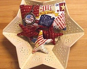 Patriotic Primitive Old Glory Americana Flag Pillow and Stars Bowl Filler Tucks