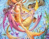 Mermaid Sisters Art Print Sealife - Heart Friendship Fish Jellyfish Sea turtles Seahorses
