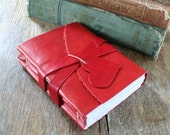 """Leather Journal . LOVE - """"i carry your heart with me"""" -ee cummings . Handmade Handbound . supple red (320 pgs.)"""
