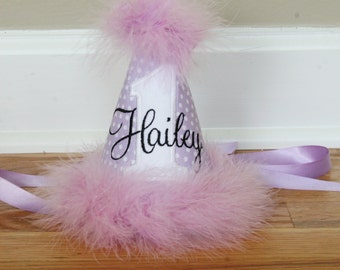Girl First Birthday Hat - Lavender, Purple, and White - Free personalization