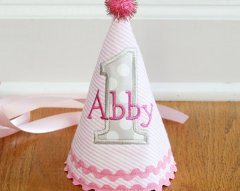 Girl 1st Birthday Hat - Pink and grey - Michael Miller aqua ta dots fabric