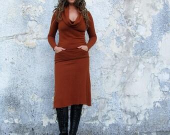 ORGANIC Gypsy Darjeeling Below Knee Dress - ( hemp and organic cotton fleece ) - organic fllece dress