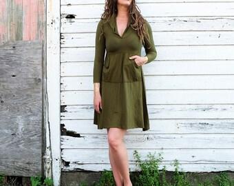 Hemp Dress - ORGANIC Howrah Hooded Kangaroo Pocket Short Dress - (LIGHT hemp/organic cotton knit )