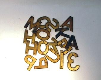 15 vintage plastic letters reflective gold house numbers 13 too letters 2 x 2 1/2 inches numbers  3 3/8 x 2 1/8 inches
