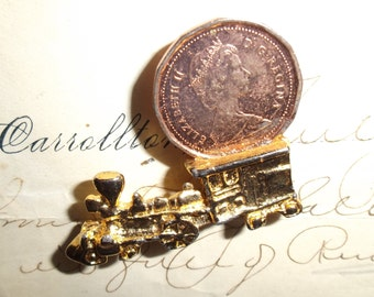 Vintage Train Good Luck Charm with 1988 Canadian Penny